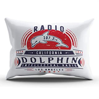 UNFRIY Home Decoration Throw Pillow Covers Radio Dolphin Vintage Badge with Dolphin King Sofa Cushion Cover Pillowcase 20x36 Inch One Sided Printed (1-Pack)