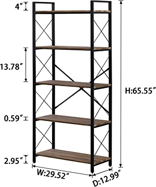 OIAHOMY Industrial Bookshelf,5-Tier Vintage Bookcase and Bookshelves,Rustic Wood and Metal Shelving Unit,Display Rack and Sto
