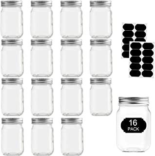 Glass Jars With Lids 12 oz, Mason Jars For Pickles And Kitchen Storage, Canning Jars Regular Mouth Spice Jars With Silver ...