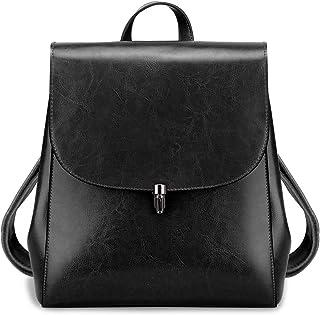 S-ZONE Damen Leder Rucksack Vintage Tagesrucksack Casual Reiserucksack Schulrucksack Daypack Backpack Geldbörsen Schultertasche Schulranzen Schultaschen Schulrucksäcke
