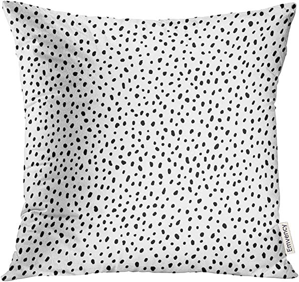 VANMI Throw Pillow Cover Spot Polka Dot Simple Structure Abstract With Many Scattered Pieces Black And White Design For Scatter Decorative Pillow Case Home Decor Square 20x20 Inches Pillowcase