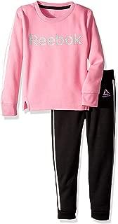 Reebok 女童 2 件套涤纶羊毛运动衫和配套慢跑裤