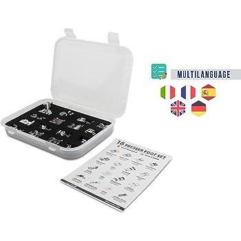 La Canilla ® - Kit de 16 Piezas Pie Prensatelas Universales para Máquinas de Coser Alfa, Singer, Brother, Janome, Elna, Juki, Lidl, Ikea