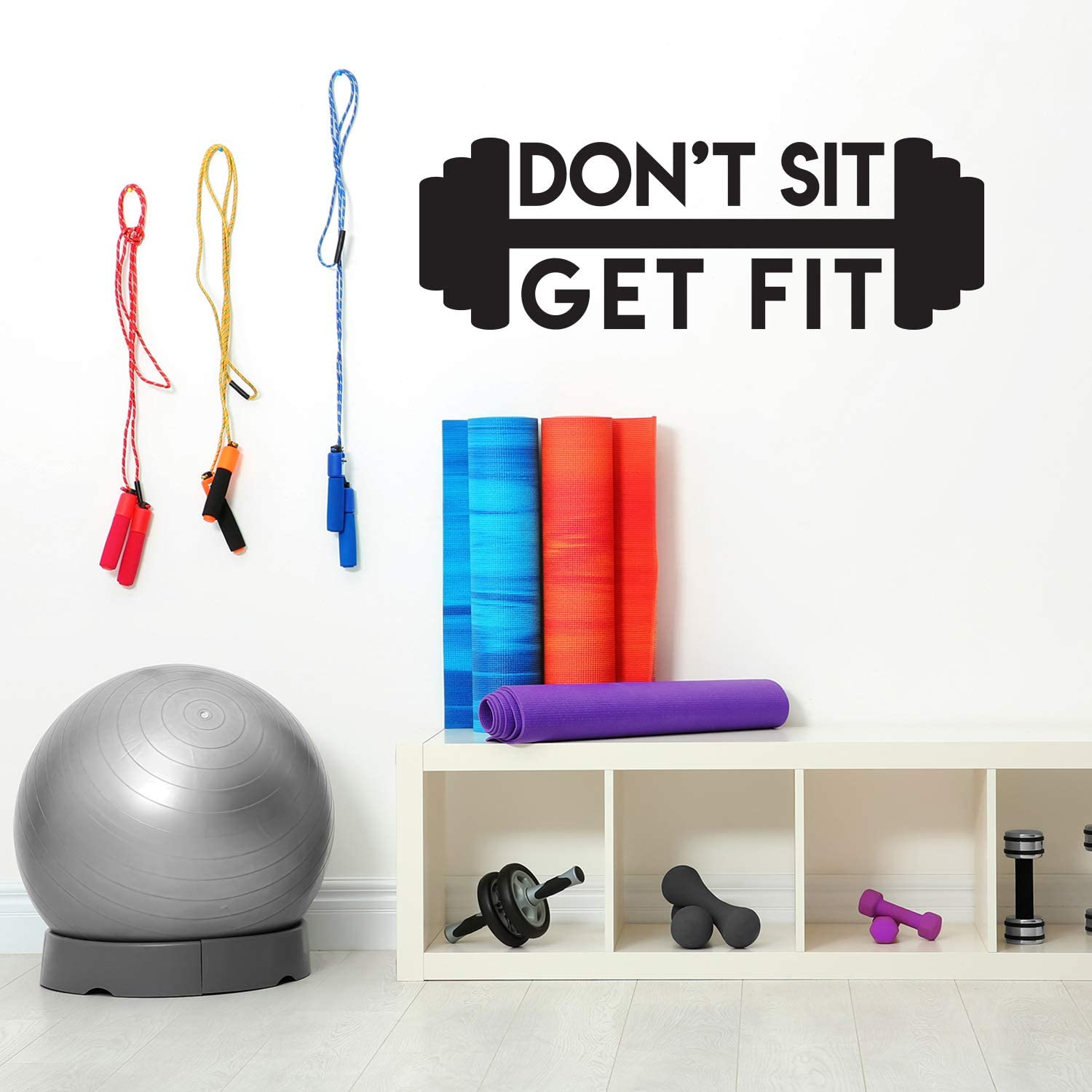 Vinyl Wall Art Decal Black 17 x 50 Dont Sit Get Fit Trendy Motivational Quote Sticker for Home Gym Bedroom Exercise Room Fitness Workout Training Crossfit Decor
