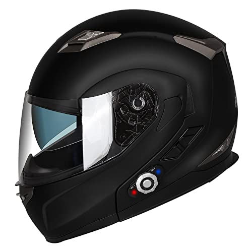 63691ece Motorcycle Bluetooth Helmets,FreedConn Flip up Dual Visors Full Face Helmet ,Built-in