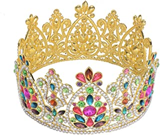 S SNUOY Gold Full Round Crown for Bridal Rhinestone Queen Tiara Pageant Wedding Hair Jewelry