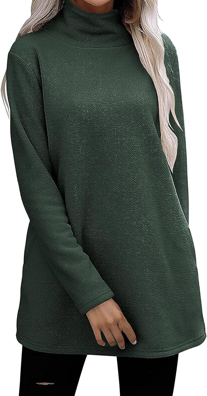 Womens Pullover Solid Color Casual Fleece Fluffy Crewneck Long Sleeve Fashion Sweatshirt Tops Swing Hem Jumper