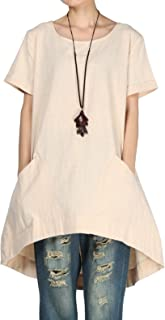 Mordenmiss Women's Cotton Linen Tunic Tops Hi-Low Dresses with Pockets