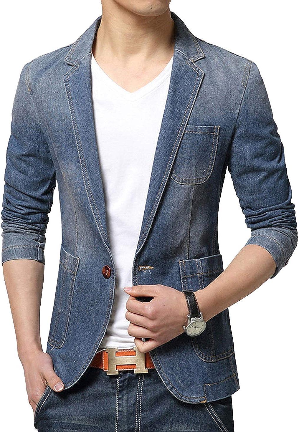 ebossy Men's One Button Slim Fit Lightweight Distressed Denim Blazer Sport Coat