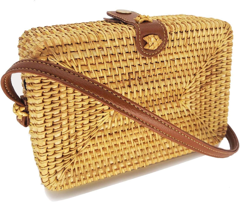 Women's Bali Rattan CrossbodyBags Handmade Straw Bags Bohemian Shoulder Bag