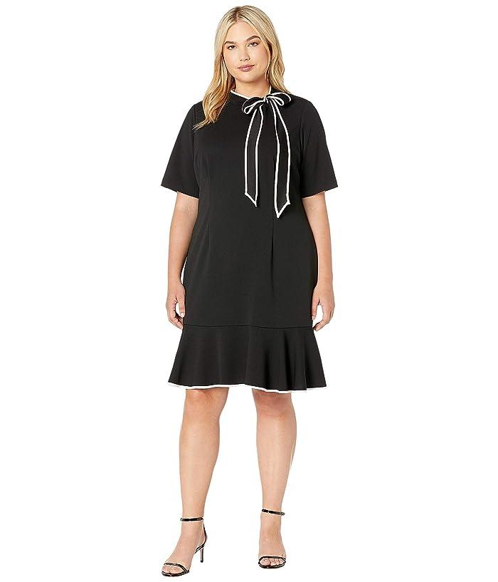 60s 70s Plus Size Dresses, Clothing, Costumes Adrianna Papell Plus Size Knit Crepe Tie Neck Flounce Dress BlackIvory Womens Dress $143.40 AT vintagedancer.com