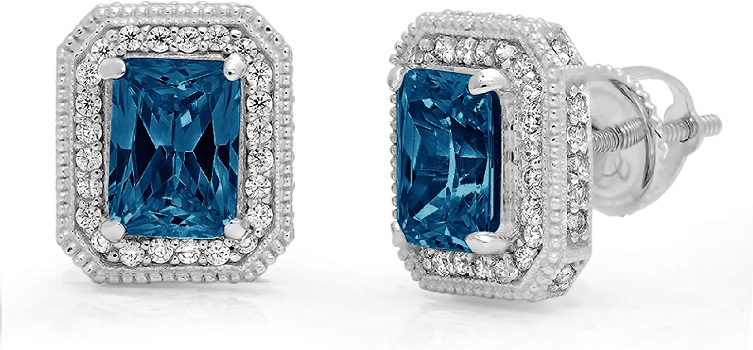 3.98 ct Emerald Round Cut Halo Solitaire Natural London Blue Topaz gemstone Designer Solitaire Stud Screw Back Earrings Solid 14k White Gold