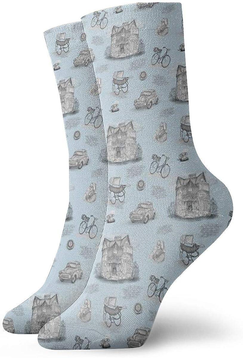 BaboLye Call The Midwife Inspired Blue Neutral Scenic Toile Athletic 30cm Socks Ankle Socks Sport Casual Socks Cotton Crew Socks