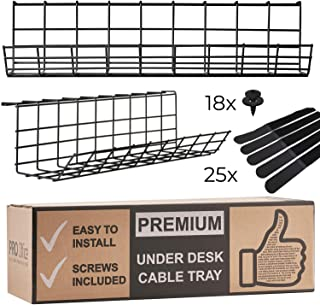 Under Desk Cable Management Tray - Cable Organizer for Wire Management with 25-straps. Metal Wire Cable Tray for Office and Home. Perfect Standing Desk Cable Management Basket (Black - Set of 2x 17')