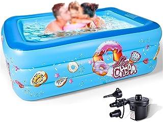 Blue Inflatable Swimming Kids Pool، 70.8x51.2x21.6 بوصة بالحجم الكامل السباحة السباحة كيدي الكرة بركة، رشاقته تفجير بركة ا...
