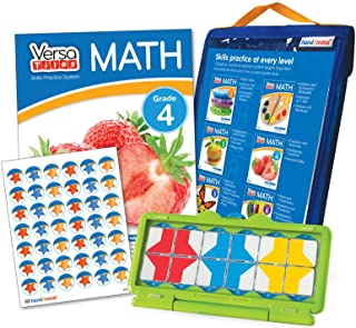 hand2mind VersaTiles Math Practice Take Along Set (Grade 4), Allow Kids to Learn, Practice & Self-Check Essential Math Skills at Home, Independent Activities for Kids