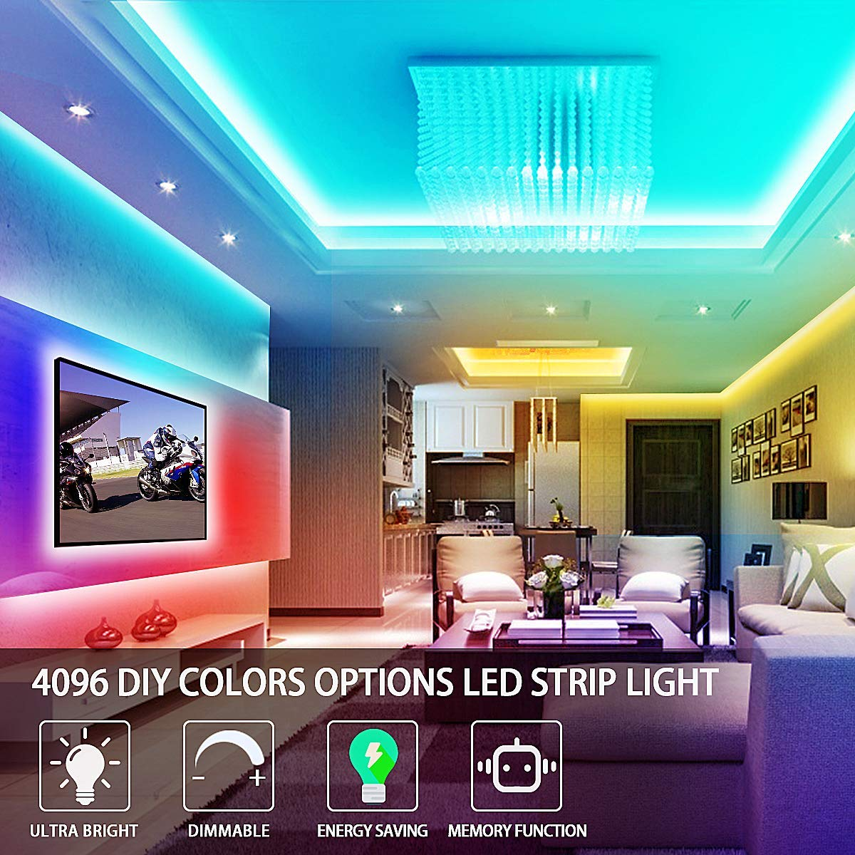 RGB LED Strip Lights 16.4ft, Bright 4096 DIY Colors Rope Lights with Memory Function, Self-Adhesive Color Changing Light Strip with Remote, 30mins Timing Off LED Tape Light Kits for Home Decor
