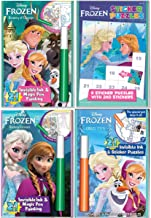 Lee Publications Disney Frozen Activity Set of 4 for Girls: 3 Mess Free Magic Ink Coloring Books and 1 Sticker Puzzle Pack