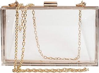 SharPlus Women Cute Transparent Clear See Through Box Clutch Acrylic Evening Handbag Cross-Body Purse Bag