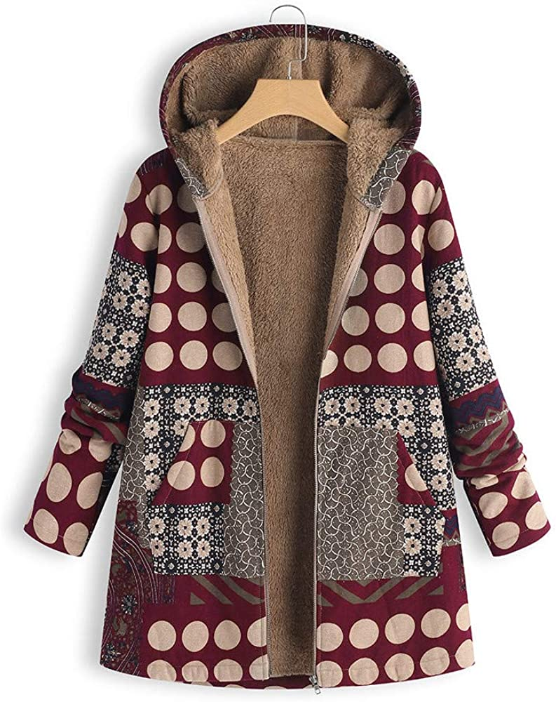 JOFOW Womens Jacket Winter Hooded Long Striped Polka Dot Patchwork Floral Print Fleece Quilted Coat Loose Cardigan Plus Size