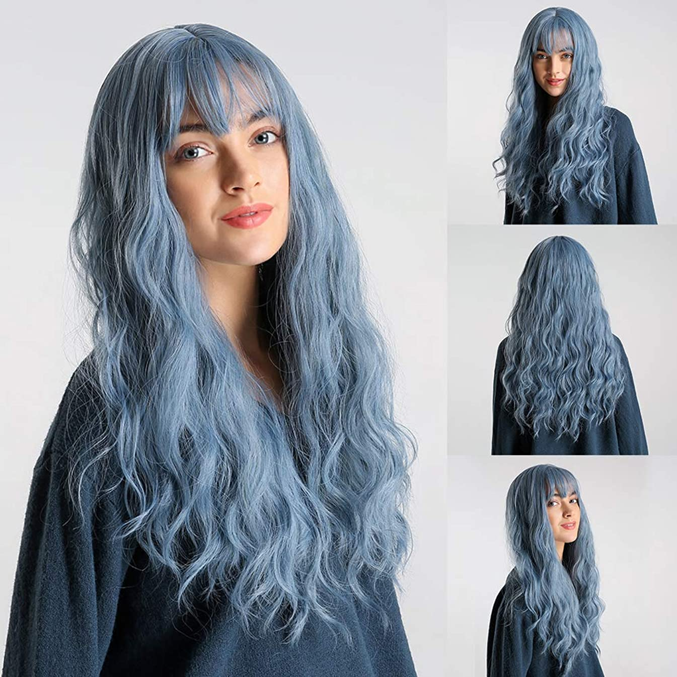 Adonpshy Women Wig,High Temperature Fiber Blue Long Curly Bang Wig Women Cosplay Party Hairpiece,Let You Exude Charm