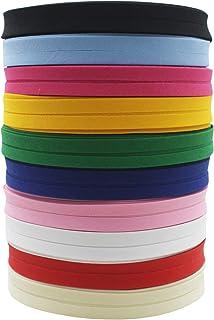 Ruban de biais en polyester/coton de 12 mm, couleur unie, pour couture et coupe de vêtements