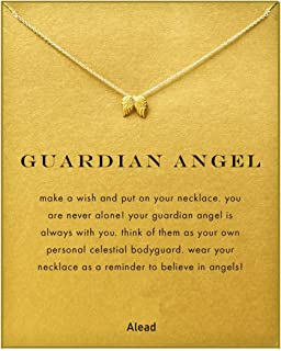 Women Pineapple Mountain Friendship Elephant Cactus Diamond Butterfly Life Tree Luck Four-Leaf Clover Angel Wings Sun and Moon Pendant Gift Necklace with Message Gift Card