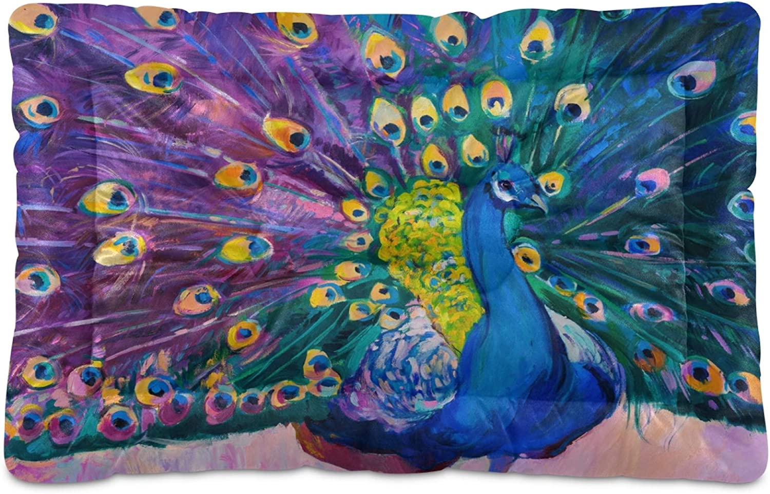 KEEPREAL Online limited product Peacock Oil Painting Dog Comfort Cat Rectangle Bed Oklahoma City Mall