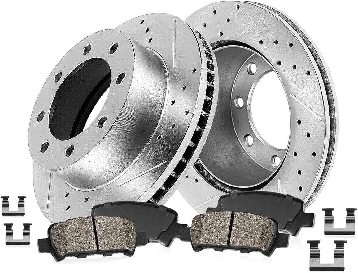 MinuoCAT Rear Sacramento Mall Drill Slot Brake Compatible Pads Rare Rotors Ceramic