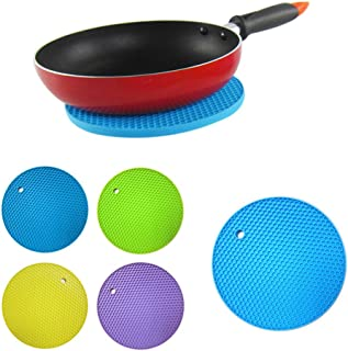TRIXES 5PC Set of Round Silicone Pot Pads Heat Resistant High Quality Durable Easy to Clean Assorted Colours Non-Slip