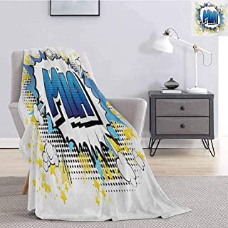 Luoiaax Mia Flannel Fleece Throw Blanket Widespread Feminine Name in The United States with Comic Book Style Graphic Elements Soft Fuzzy Blanket for Couch Bed W60 x L91 Inch Multicolor