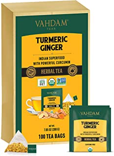 VAHDAM, Organic Turmeric + Ginger POWERFUL SUPERFOOD Herbal Tea, 100 Count | USDA Certified Herbal Tea | PO...