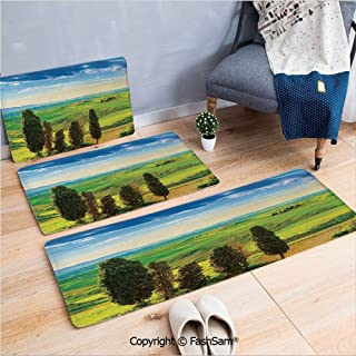 3 Piece Fashion Flannel Door Mat Carpet Rural Sunset in Italy Countryside with Trees Fresh Meadows and Clear Sky Image Print Decorative for Door Rugs living room(W15.7xL23.6 by W19.6xL31.5 by W31.4xL4
