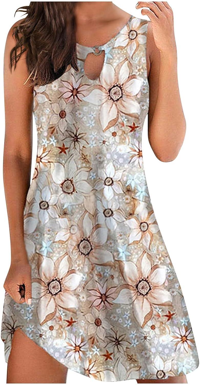 UQGHQO Summer Dresses for Women, Women's Floral Print Sleeveless Round Neck Loose Tank Dress Casual Beach Mini Dress