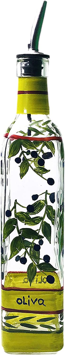 Containly Hand Painted Glass Oliva Limited time cheap Max 68% OFF sale Oil Vinegar Branch and