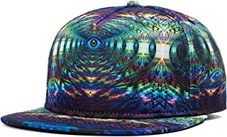 Soeach 3d Galaxy Maze Starry Print Flatbill Visor Snapback Baseball Hat Neon Sign