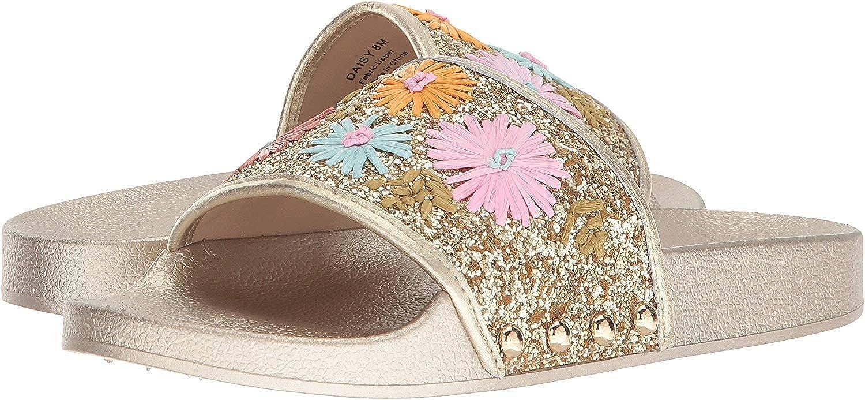 Botkier Womens Daisy Faux Leather Glitter Flat Sandals