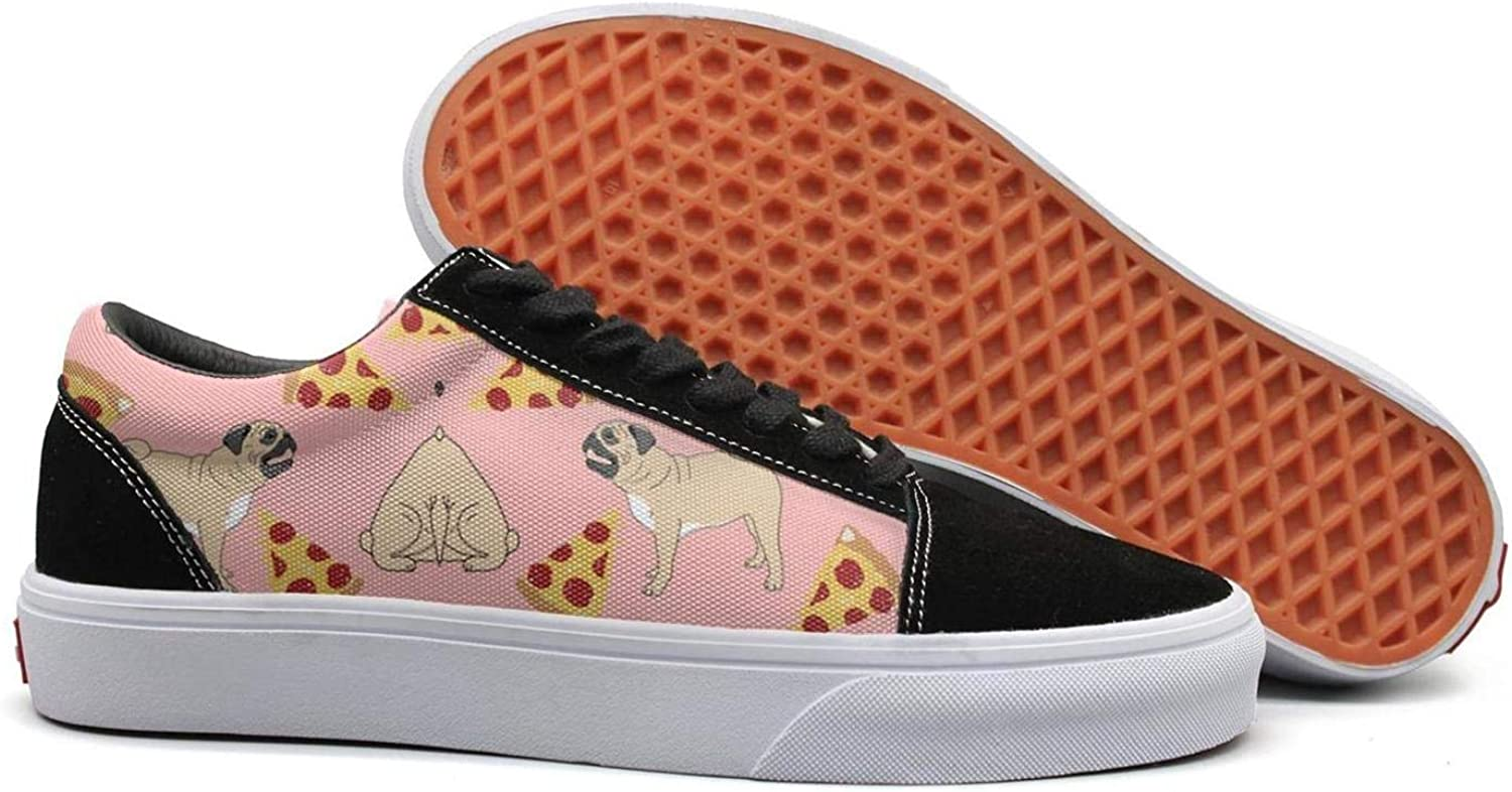 Winging Womens Pizza Pugs Pink Vintage Suede Canvas shoes Old Skool Sneakers