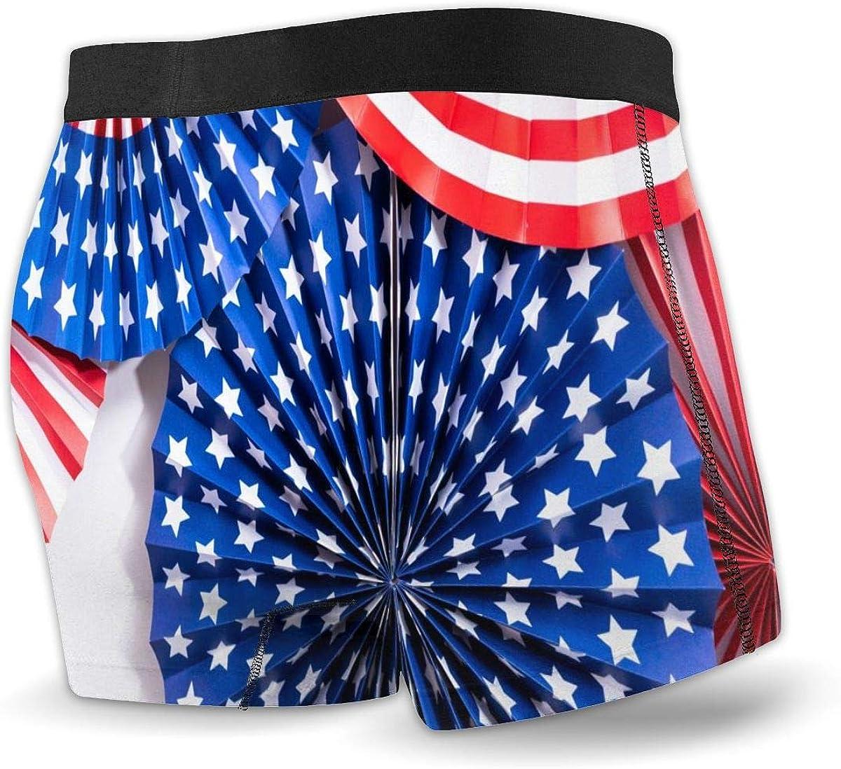 Randolph Wordsworth Mens Boxer Briefs USA Flag July 4th Paper Breathable Underwear