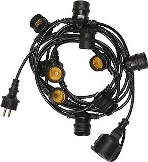 SKYLANTERN Guirlande Guinguette IP65 10m Noire Raccordable - Guirlande Lumineuse pour Ampoule E27 10 Bulbes - Guirlande Gu...