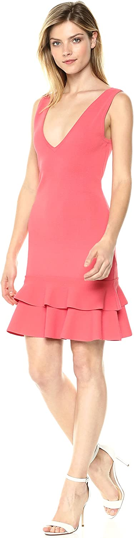 Keepsake The Label Womens Moving on V Neck Ruffle Hem Mini Dress Casual Dress