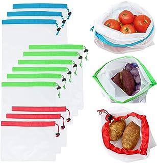 Allydrew A72073 Reusable Transparent Mesh Produce Bags, Set of 12