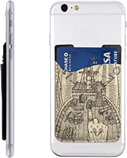 hdsfnrugr Ship Mystic Concept for Lenormand PU Slim Wallet,Ultra Thin Stick-On Silicone Credit Card Holder Sticker Adhesive Cell Phone Wallet Compatible for Most Smartphones 2.43.5in