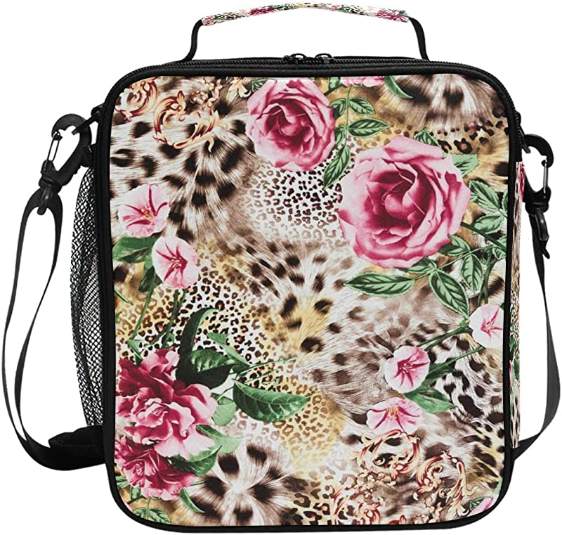 XMCL Animal Tiger Leopard Print Flower Insulated Lunch Bag Cooler Lunchbox Food Container Bento Box For Office Pinic