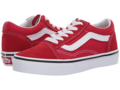 Vans Kids Old Skool (Little Kid/Big Kid) (Racing Red/True White) Kid