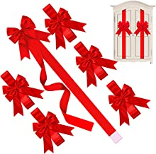 Christmas Cabinet Ribbons Bows Large Red Christmas Door Ribbon Cabinet Bows for Christmas Party Supplies (6 Pieces)