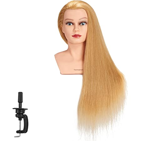 Amazon Com Traininghead 28 30 100 Human Hair Mannequin Head Hairdressing Training Practice Head Hair Styling Cosmetology Manikin Doll Head With Clamp Stand Blond Beauty