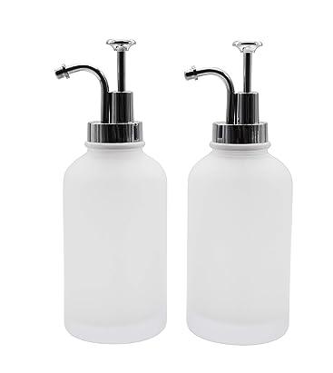 Wodlo Glass Soap Dispenser Pump 2 Piece Set With 14oz Glass Bottle For Bathroom Or Kitchen Perfect For Liquid Soap Essential Oils And Lotions Matted Amazon De Kuche Haushalt