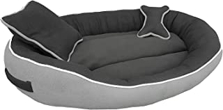 Dog Care Ultra Soft Dog Bed Grey & Black Reversible with 2 Pillows (Small)
