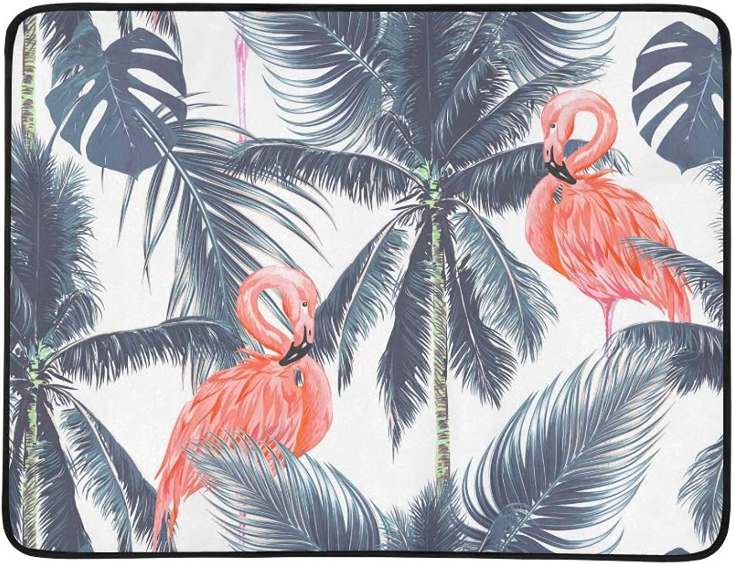 Watercolor Pink Flamingo and Palm Trees Pattern Portable and Foldable Blanket Mat 60x78 Inch Handy Mat for Camping Picnic Beach Indoor Outdoor Travel